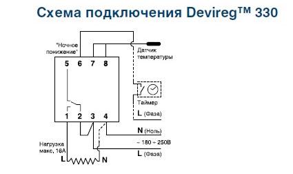 схема подключения DIN DEVIreg 330