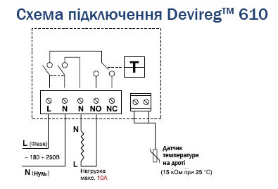 shema termoregulyator DEVIreg610 ua